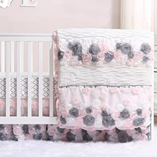 Colette Pink and Grey Floral 4 Piece Crib Bedding Set by The Peanut Shell