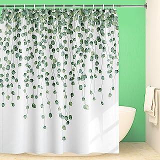 Maccyafst Eucalyptus Shower Curtain Green Leaves Shower Curtain Watercolor Leaf Shower Curtain Fabric Floral Shower Curtai...