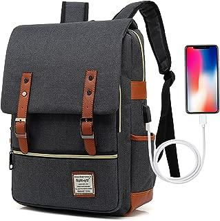 UGRACE Vintage Laptop Backpack Slim School Bag Travelling Backpacks with USB Charging Port for Men Women