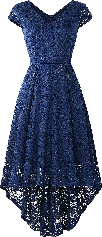 NIYIGEJI Women's V-Neck Sleeveless high Waist lace Bridesmaid Dress Cocktail Dress Dark Blue/M
