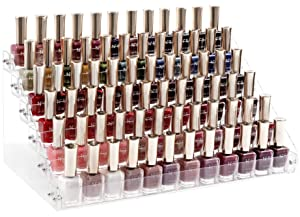 HBlife Clear Nail Polish Organizer 6 Tier Acrylic Display Rack Holds Up to 72 Bottles