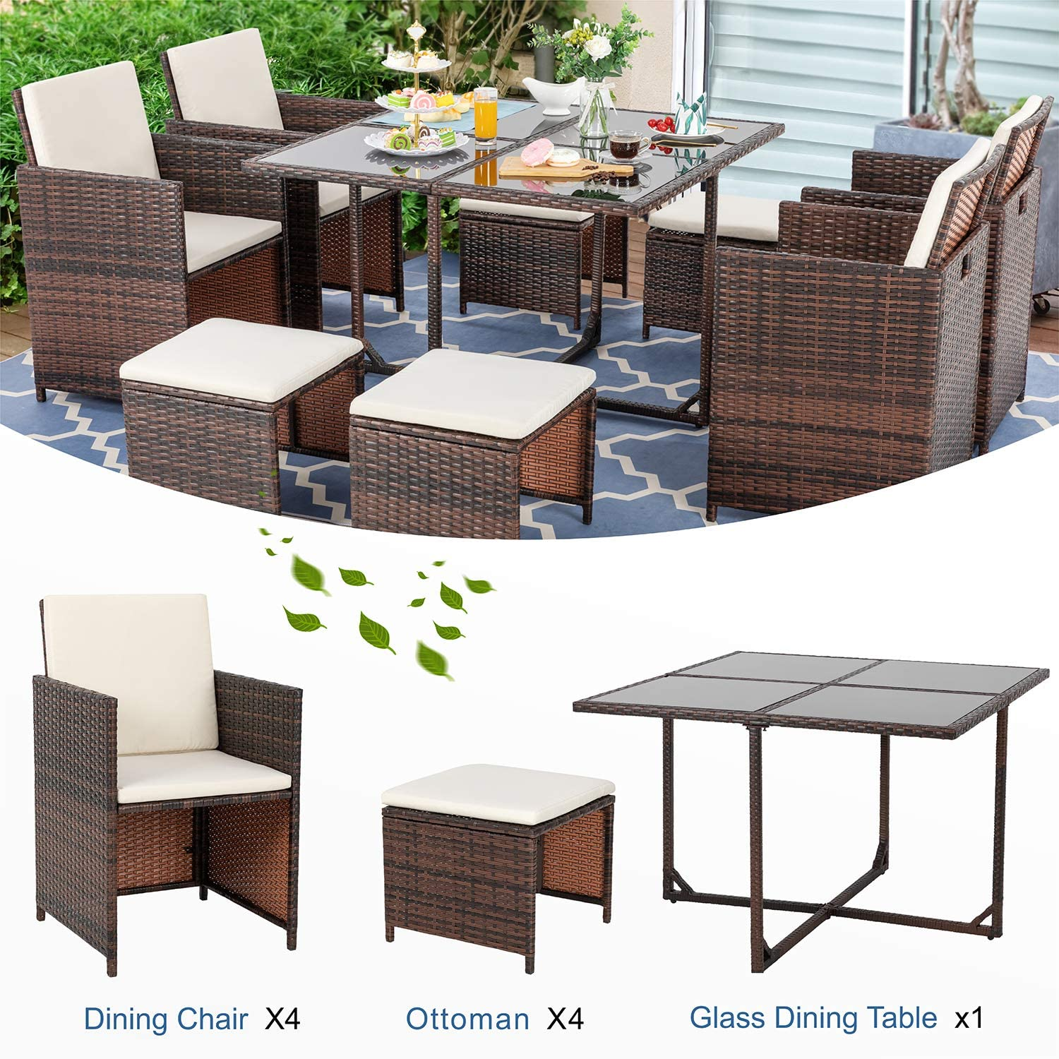 Vongrasig 9 Piece Small Patio Dining Set, Outdoor Space Saving PE Wicker  Dining Furniture Set, Glass Patio Dining Table with Cushioned Wicker Chairs  ...