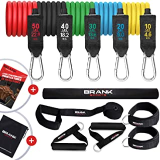 Bandas elasticas musculación con asas | Gomas elasticas fitness de 5 a 70kg | Pack de cintas elasticas para ejercicio en c...