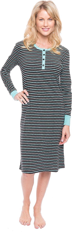 Noble Mount Women's Double Layer Knit Jersey Sleep Dress