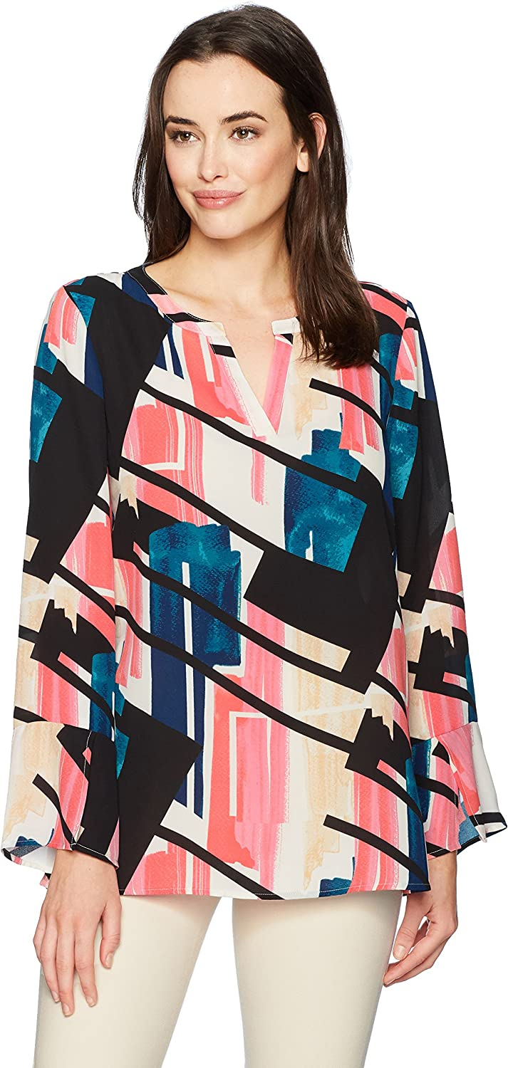 Chaus Womens Flounce Sleeve Abstract Exhibit Blouse Blouse