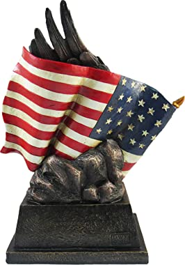 DWK - Pride & Honor - Bald Eagle with American Flag in God We Trust Patriotic Statue Figurine Sculpture Home Décor Office