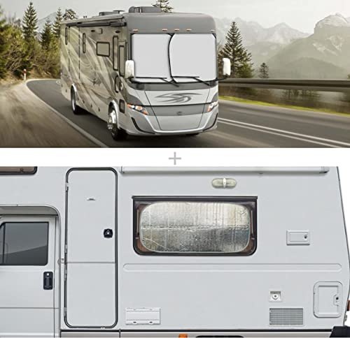 new arrival EcoNour high quality Gift Bundle   2-Piece Foldable Spring RV Windshield Sunshade + RV Door Window Shade   Keeps Your RV Cool with Privacy Protection   outlet sale Total UV Protection outlet sale