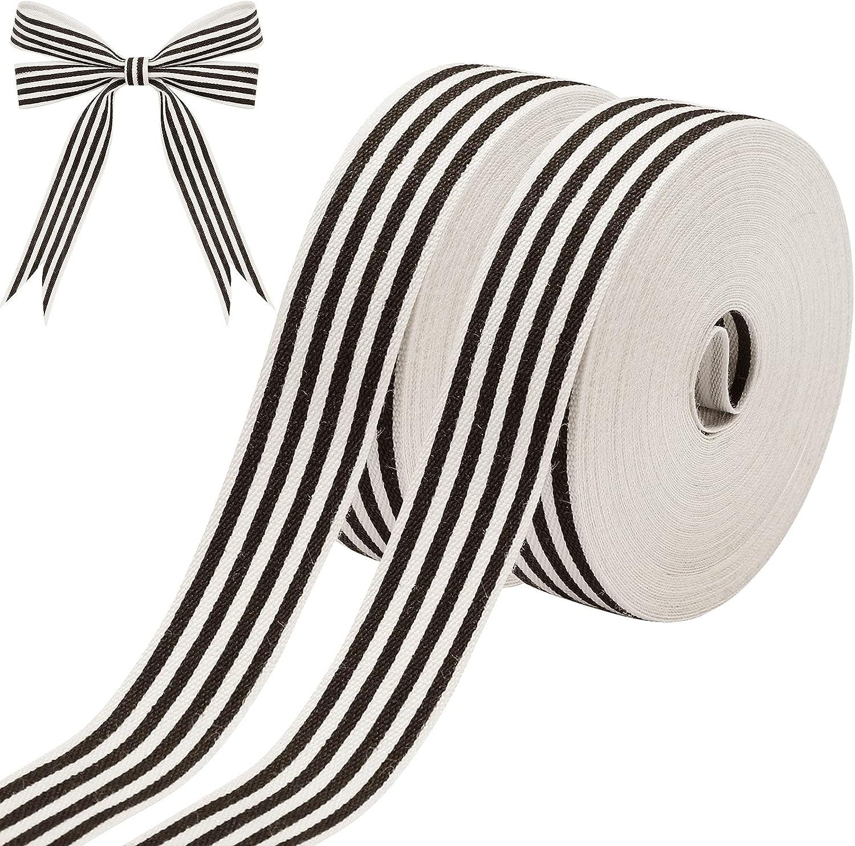 2 Rolls 0.63 Inch x 8 Yards Natural Cotton Stripes Ribbon Fabric Ribbon Stripe Grosgrain Ribbon Christmas Stripes Ribbon for Home Christmas Party Decor Wrapping DIY Craft (Black and White)
