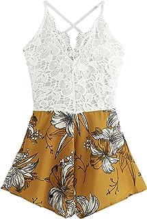 1b4f0b2d406f SHEIN Women s Boho Crochet V Neck Halter Backless Floral Lace Romper  Jumpsuit