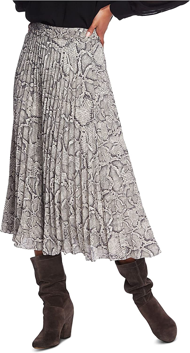 1. STATE Womens Gray Midi Pleated Skirt Size 8