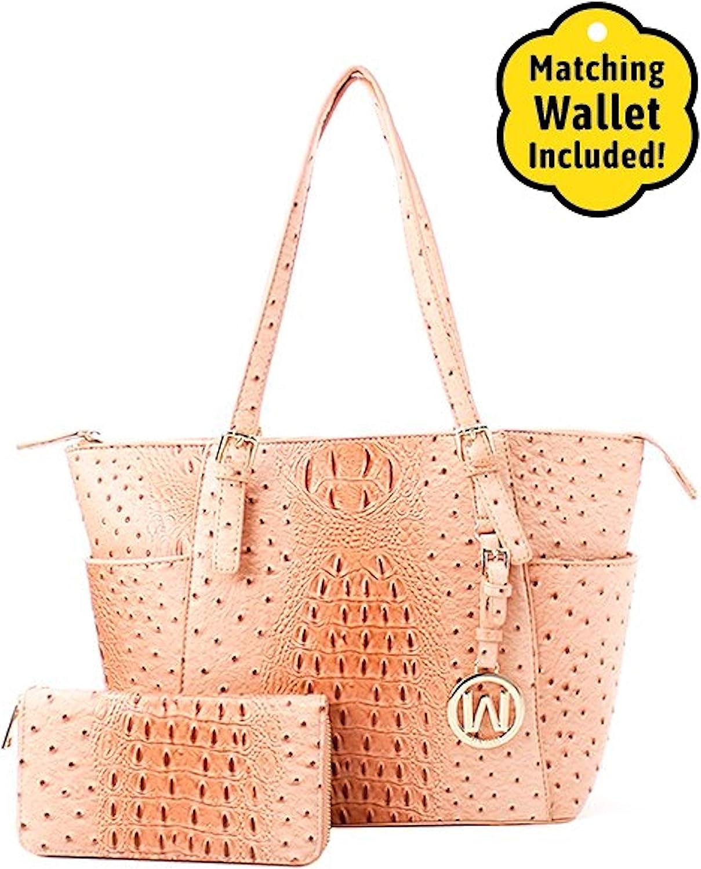 Ostrich Fashion Satchel & Wallet SetPink