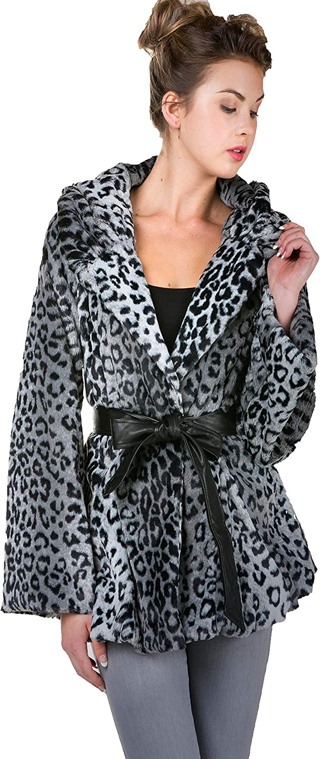 Melody Faux Bombing free SEAL limited product shipping Fur Jacket with Leather Belt