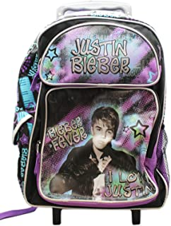 Justin Bieber I Love Justin Musical Stars Kids Full Size Rolling Backpack (16in)
