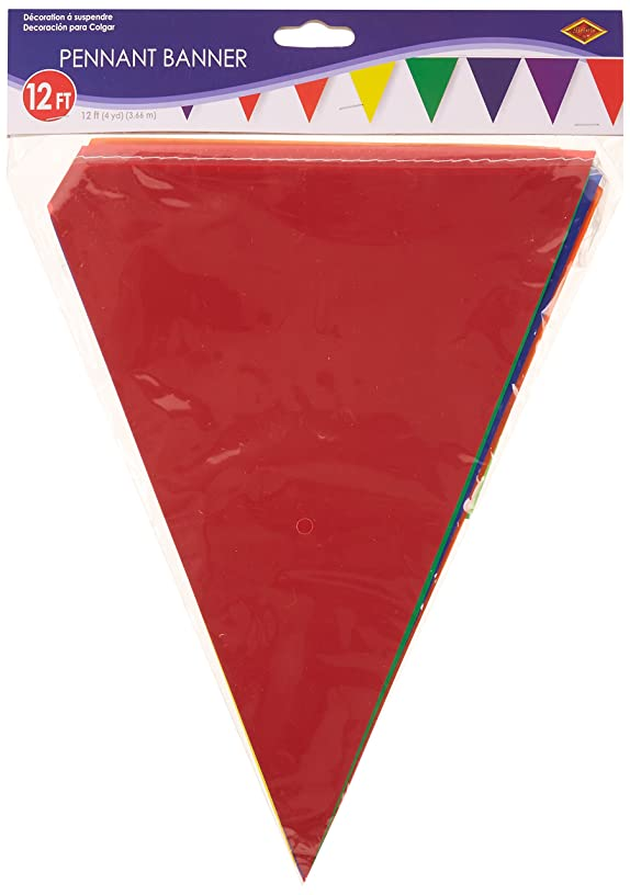 Beistle 50707-RB Rainbow Indoor/Outdoor Pennant Banner, 10 by 12-Feet
