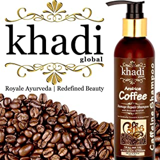 Khadi Global Arabica Coffee Damage Repair Shampoo With Broccoli Seed Oil + Best Hair Damage Control Shampoo + Best Hair Growth Shampoo + Best Caffeine Shampoo