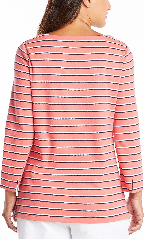 Nautica Women's Boatneck 3/4 Sleeve 100% Cotton Shirt