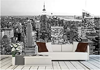 wall26 - Aerial View of Manhattan, New York City USA - Removable Wall Mural | Self-Adhesive Large Wallpaper - 100x144 inches