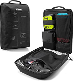 tomtoc Backpack Storage Travel Bag for Nintendo Switch Console & Pro Controller, Desk Dock, AC Adapter Charger, Original Lightweight Outdoor Carrying NS Gamers Accessory Sleeve Case Organizer