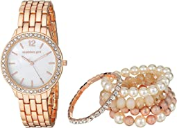 Madden Girl Watch with Stretch Bracelet Set SMGS018