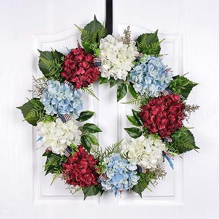 Amazon Com Es Essentials Patriotic Wreath 24 Rose Peony Hydrangea Home Kitchen