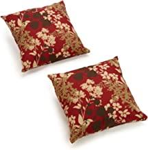 Blazing Needles Outdoor Spun Poly 20-Inch by 20-Inch by 6-Inch Throw Pillow, Montfleuri Sangria, Set of 2