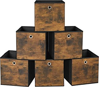 SONGMICS Boîtes de Rangement Pliables, Lot de 6, Cubes, Coffre, Panier, Organisateur de vêtements, Bacs à Jouets, en Tissu...