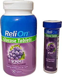 ReliOn Glucose, 50 Tablets with On-The-Go Tube, 10 Tablets. (Grape)