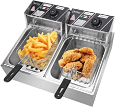 BHWHOME 12.7QT/12L Stainless Steel Double Cylinder Electric Fryer US Plug Electric Fryer,12L Commercial Electric Countertop Stainless Steel Deep Fryer Basket French Fry Restaurant Home Kitchen
