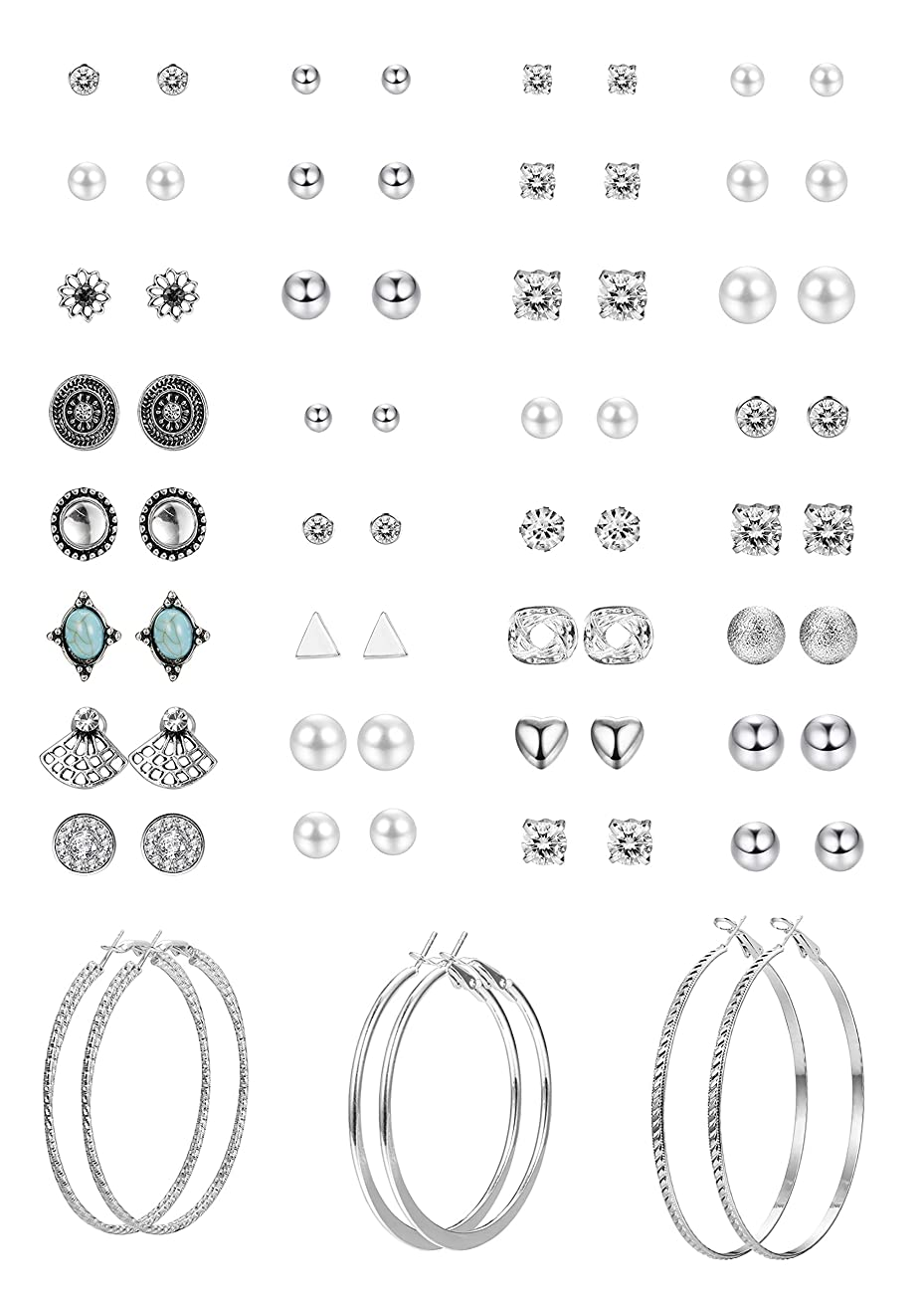 Hanpabum 33 Pairs Assorted Multiple Stud Hoop Earrings Set Women Girls Vintage Geometric?Fake Pearl Round Ball?CZ Earrings Pack