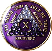 10 Year AA Medallion Purple Tri-Plate Transition Swarovski Crystal Chip X