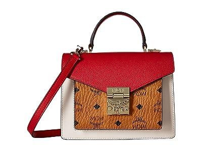 MCM Patricia Visetos Leather Block Satchel Small (Cognac/Red) Wallet