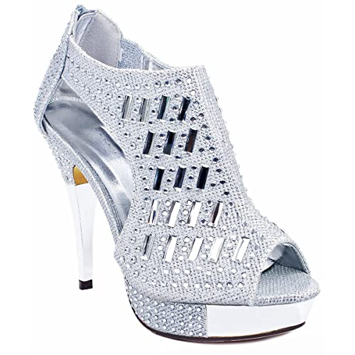 2029b526499f JJF Shoes Women Glitter Crystal Rhinestone Peep Toe Platform High Heel  Evening Dress Bootie Sandals