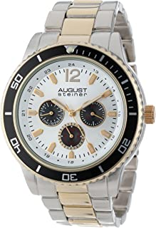 August Steiner Men's Large Face Tachymeter Fashion Watch - Sunburst Dial with Day of Week, Date, and 24 Hour Subdial on Two Tone Gold Toneand Silver Bracelet - AS8059