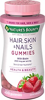 Nature's Bounty Vitamin Biotin Optimal Solutions Hair, Skin and Nails Gummies, 200 Count, (Pack of 1)