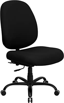 Flash Furniture HERCULES Series Big & Tall 400 lb. Rated Black Fabric Executive Swivel Ergonomic Office Chair with Adjustable Back