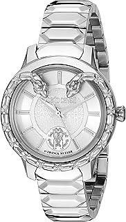 ROBERTO CAVALLI Women's Serpente Swiss Quartz Watch with Stainless Steel Strap, Silver, 14 (Model: RV1L050M0056)