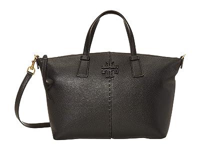 Tory Burch McGraw Top Zip Satchel (Black) Handbags