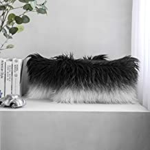 Phantoscope Pack of 2 Luxury Series Throw Pillow Covers Faux Fur Mongolian Style Plush Cushion Case for Couch Bed and Chair, Black and White 12 x 20 inches 30 x 50 cm