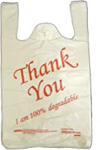 "EPOSGEAR® Large Thank You 100% Degradable Eco Plastic Vest Carrier Bags (10"" x 15"" x 18"", Red, 100)"