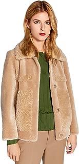 Women's Warm Winter Lamb Fur Coat Camel Shearling Jacket with Pockets