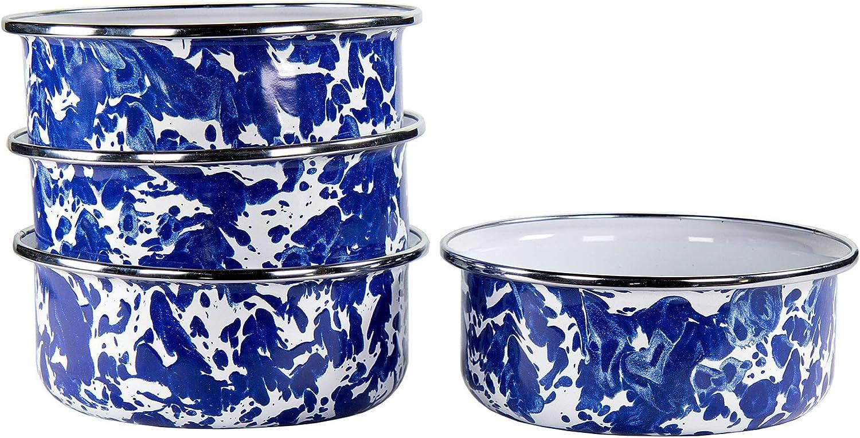 Golden Rabbit Enamelware - Set of 4 Swirl Max 66% OFF Atlanta Mall Cobalt B Blue Soup
