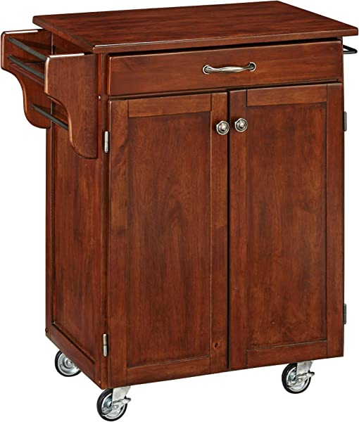 Create A Cart 2 Door Cabinet Kitchen Cart With Cherry Top By Home Styles
