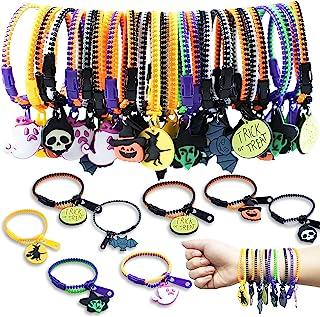 Kids Halloween Party Favors Zipper Bracelets, 28 Pack Halloween Zipper Wristbands for Kids halloween Trick or Treat Gifts,...
