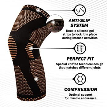 POWERLIX Knee Compression Sleeve - Best Knee Brace for Knee Pain for Men & Women – Knee Support for Running, Basketba...