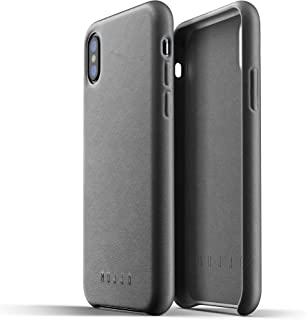 Mujjo Full Leather Case for iPhone Xs, iPhone X   Premium Genuine Leather, Natural Aging Effect   Slim, Leather Wrapped, Wireless Charging (Gray)