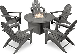 POLYWOOD Vineyard Adirondack 6-Piece Chat Set with Fire Pit Table (Slate Grey)