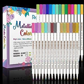 RATEL Marqueurs Métalliques, 30 Couleurs Brillantes Stylos marqueurs métalliques pour Bricolage Artisanat d'art, Peinture ...