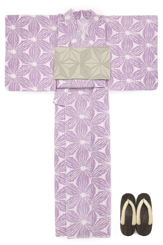 (ソウビエン) 浴衣 セット レディース 薄紫色 パープル 麻の葉 花 綿麻 兵児帯 マクレ ボヌールセゾン
