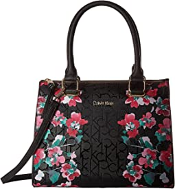 Calvin Klein - Top Zip Floral Printed Monogram Satchel