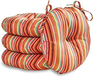 Greendale Home Fashions 18 in. Round Outdoor Bistro Chair Cushion in Coastal Stripe (set of 4), Watermelon
